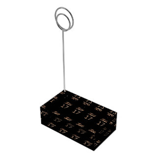 Table Number 17 Black Gold Elegant Typography Table Card Holder