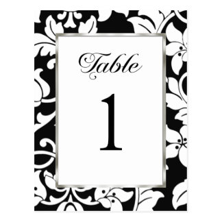 Table Number Black Damask Postcard