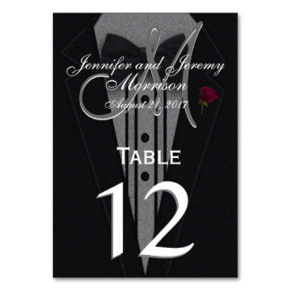 Table Number | Black Tuxedo Table Cards