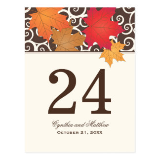 Table Number Card | Autumn Leaves Theme