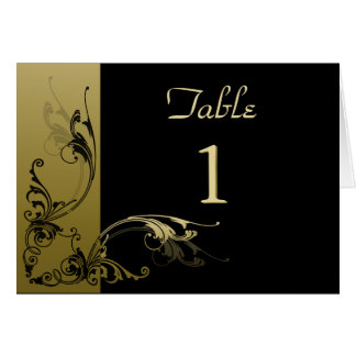 Table Number Card Black and Gold Effect Swirls