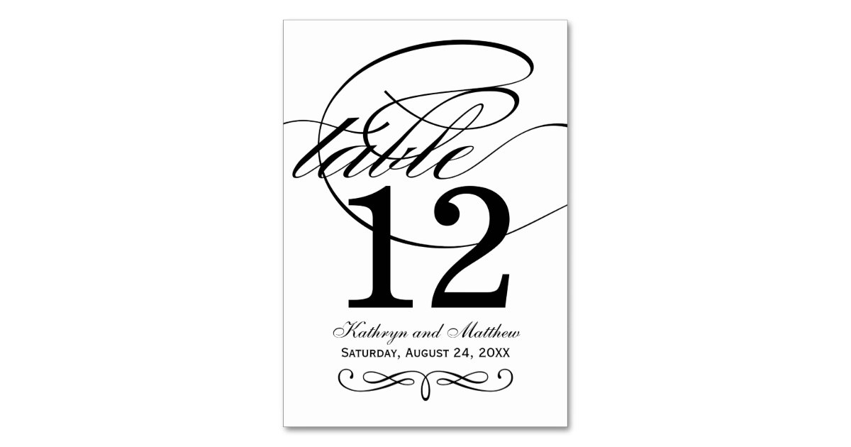 Table number card black calligraphy design table card for Table design numbers