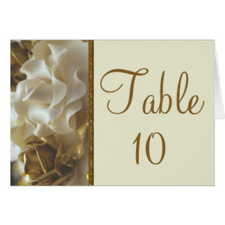 Table Number Card Gold and Ivory Wedding Cake Rose