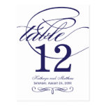Table Number Card | Navy Blue Calligraphy Design Postcard