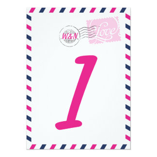 """Table Number Card Postal Service Collection 5.5"""" X 7.5"""" Invitation Card"""