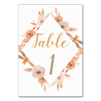 Table Number Card Wedding Autumn Fall Flowers