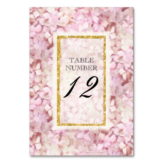Table Number Card Wedding Pink Hydrangea Gold Faux Table Card