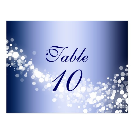 Table Number Card Winter Blue Sparkles