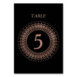 Table Number Cards | Black & Rose Gold Monogram Table Cards
