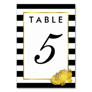 Table Number Cards | Black Stripe & Gold Peony Table Cards