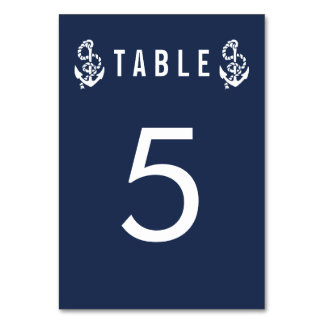 Table Number Cards   Nautical Rope & Anchor