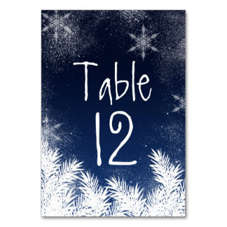 Table Number Elegant Navy Blue Snowflake Wedding Table Cards