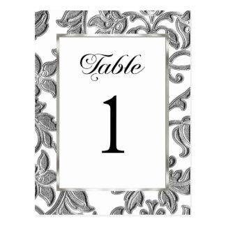 Table Number Embossed Silver Damask Postcard