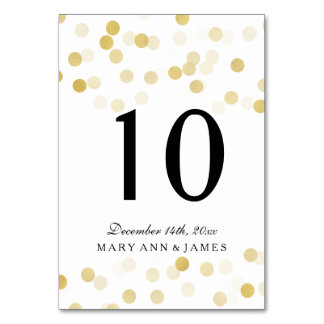Table Number Faux Gold Foil Glitter Lights