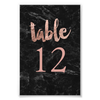 Table Number faux rose gold typography marble Photo