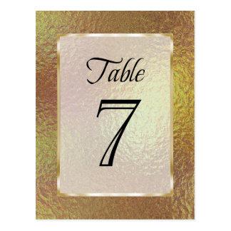 Table Number Gold Faux Foil Postcard