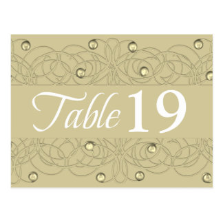 Table Number Lace and Pearl Gold Postcard