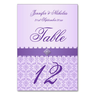 Table Number Lilac Damask & Purple Ribbon Table Card