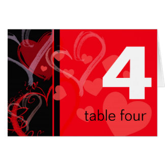 Table Number - Mystic Heart - Black and Red Greeting Card