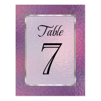 Table Number Pink and Purple Faux Foil Postcard