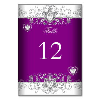 Table Number Plum Pink Wedding Silver Diamond Table Card