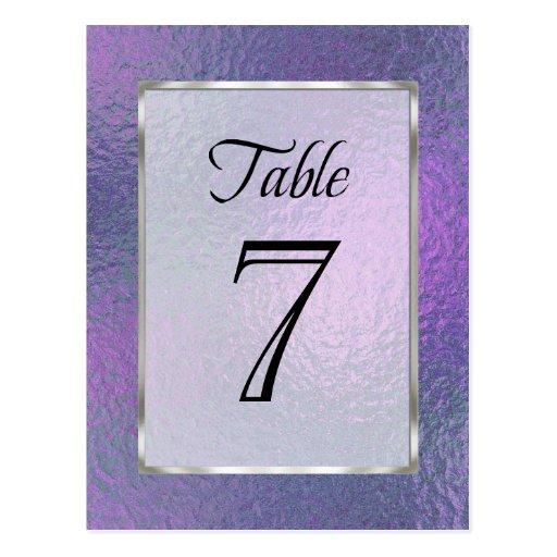 Table Number Purple and Blue Faux Foil Postcard
