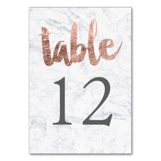 Table Number rose gold typography marble wedding Table Card