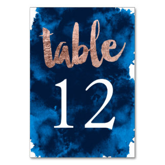 Table Number rose gold typography watercolor Table Cards