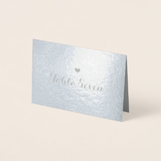 Table Number Small Heart Place Card Silver