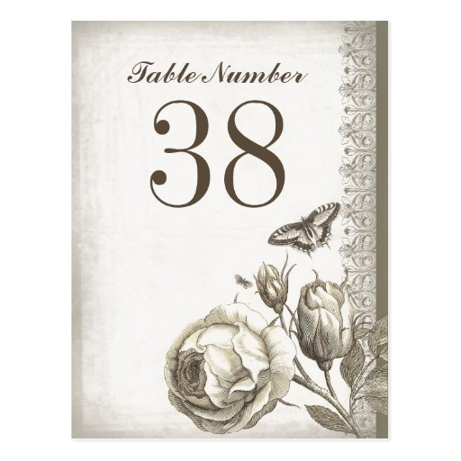 table number vintage cards post card