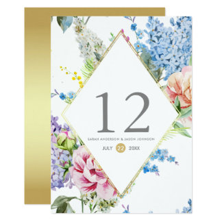 Table Number | Watercolor Blossom on Gold Card