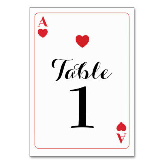 Table Number Wedding Ace of Hearts Playing Cards