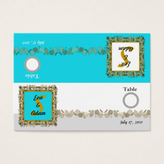 Table Number Wedding Blue Gold Leaf Business Card
