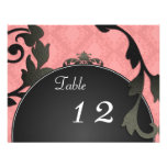 Table Number Wedding Card - Black & Coral Damask Personalised Invitations