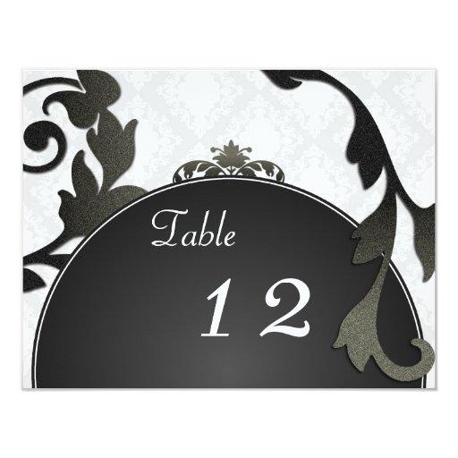 Table Number Wedding Card - Black & White Damask