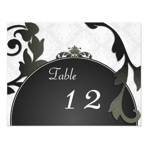 Table Number Wedding Card - Black & White Damask Announcement