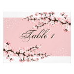 Table Number Wedding Card - Pink Cherry Blossom Personalized Invite