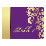 Table Number Wedding Card - Purple & Gold Floral Personalized Announcement