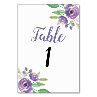 Table number Wedding Garden Purple Flower Floral