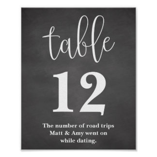 Table Number Wedding Reception Sign