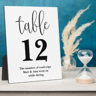 Table Number Wedding Reception Sign Plaque