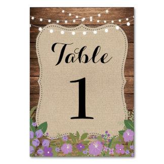 Table Number Wedding Rustic Burlap Lights Purple