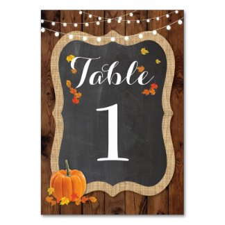 Table Number Wedding Rustic Wood Fall Pumpkin