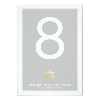 TABLE NUMBERS Bar Mitzvah star of david gray Card
