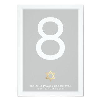 TABLE NUMBERS Bar Mitzvah star of david grey Card