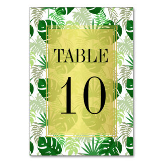 Table Numbers | Exotic Green Tropical Leaves