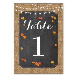 Table Numbers Wedding Fall Rustic Elegant Leaves