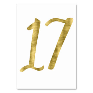Table Numbers With Gold Foil Effect Number 17 Table Card