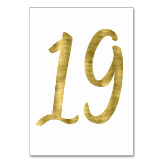 Table Numbers With Gold Foil Effect Number 19 Table Card