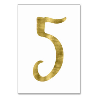 Table Numbers With Gold Foil Effect Number 5